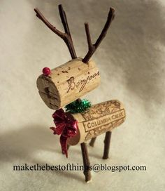 Look! A tiny reindeer made from wine corks and twigs for your Holiday decor!   If you accumulate a lot of wine corks or keep runni...