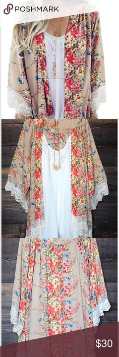 Chiffon Blouse Loose Tops Kimono Floral Print Gorgeous bright floral pattern. Super comfy! Worn a few times. Great with jeans or underneath a bathing suit. ( not free people) Free People Sweaters Cardigans