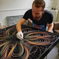 """Artists Stephen Stum and Jason Hallman of STALLMAN, work together to create their """"Canvas on Edge"""" collection. Stallman is pioneering a new technique using… Quilled Paper Art, Paper Quilling Designs, Quilling Paper Craft, Quilling Patterns, Paper Crafts, Arte Quilling, Quilling Techniques, Art Techniques, Arte Linear"""