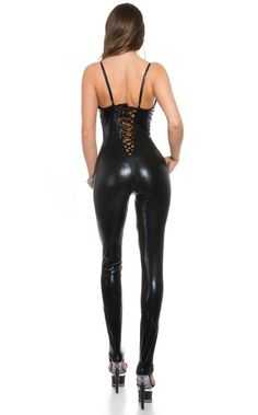 Wet Look CatSuit - μαύρο Wet Look, Catsuit, Latex, Overalls, Leather Pants, Fashion, Moda, Fashion Styles, Leather Joggers