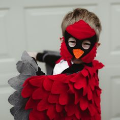 Red cardinal bird costume for kids. An ideal Christmas present for girls and boys!
