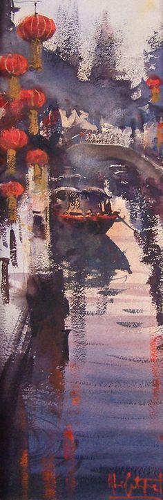 Alvaro Castagnet: ''Zhuijajiao II'' 23 x 8'' original framed watercolor