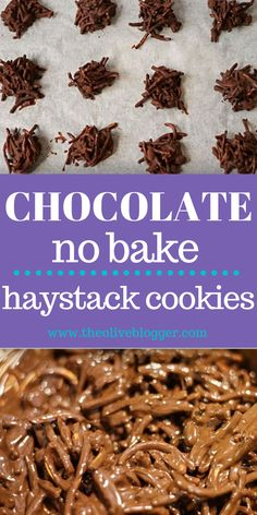 Easy No Bake Chocolate Haystack Cookies - one of the easiest no-bake cookies you can make! They are perfect for lunchboxes and after school treats! Loaded with chocolate and peanut butter, it's a winning combination! #nobakehaystackcookies #nobakecookies #peanutbutterhaystackcookies #cookie Big Chocolate, Melting Chocolate Chips, Chocolate Covered Pretzels, Chocolate Recipes, Easy No Bake Cookies, Yummy Cookies, Creamy Peanut Butter, Peanut Butter Cookies, Chocolate Haystacks