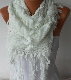 ON SALE White Ruffle Scarf Fabric Knitted Lace Scarf by fatwoman