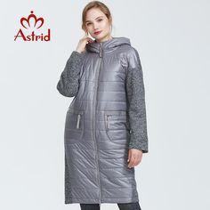 Astrid Autumn Women Jacket Mid-length Style Park With A Hood Warm Thin Cotton Fur Collar Jacket, Long Parka, Jackets For Women, Clothes For Women, Cotton Jacket, Gray Jacket, Fur Collars, Real Women, Mid Length