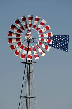 windmill American Pride, American Flag, American Spirit, American Freedom, Old Windmills, I Love America, Water Mill, Let Freedom Ring, Water Tower