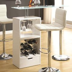 Wine Rack & Stemware Storage Bar Table w/ Tempered-Glass Top
