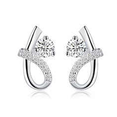 Fashion silver-plated earing S shape white stone stud Earring silver plated Earrings SMTE537