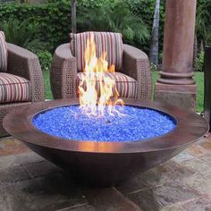 "FB - 48"" Grand Cobre Fire Bowl In Stock! They have fire bowls with water elements too. Santa, if you are listening, would really look good on back porch!"