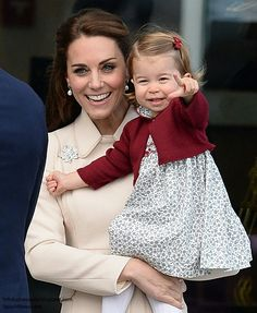 Catherine Duchess of Cambridge and Princess Charlotte at the seaplane terminal in Victoria harbour. British Columbia. October 1 2016