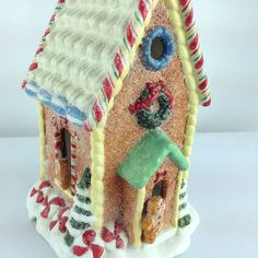 Darling Christmas Gingerbread Candy Cane Storybook Frosted  Lighted House   #Gingerbreadhouse  #Christmas