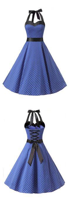 50s vintage style dress,fashion rockabilly dress,ruched retro dress,polka dots dress,halter dresses