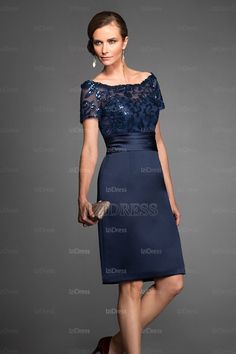 Mother of the Bride Dress 3/4 Lace Sleeves Short Evening Dress ...