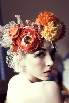 SALE! 1920s bejewelled, bridal crowm. Flower, floral, headdress, headband. orange, red  wedding, bride, festival, hippy, fashion,