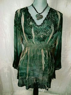 MUSHKA by SIENNA ROSE Sublimation Top Women's XL Boho Floral Sheer Empire Waist #MushkabySiennaRose #Blouse #Casual#boho#arty#fashion#trend#summer#funky#style#deal