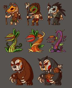 Game enemies: forest by irmirx on deviantart illustration an Character Concept, Character Art, Concept Art, Character Illustration, Illustration Art, Anna Cattish, 2d Game Art, Character Design Cartoon, Chibi