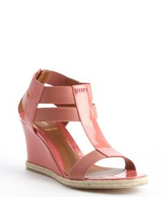 Fendi : pink patent leather nylon accent wedge sandals : style # 332564201