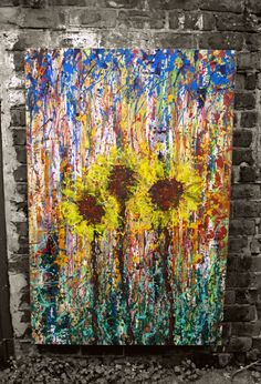 Title : Sunflowers. Acrylic painting on box canvas by Karen Marie Smith