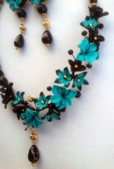 Turquoise jewelry set  Polymer necklace and earrings  by insou, $65.00