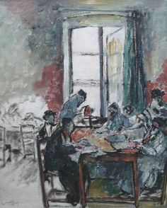 By Alfred Wolmark (1868-1941), 1949, The Reading Room, oil on canvas.
