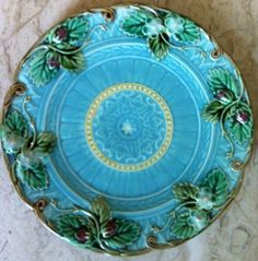 "Antique Majolica Plate RARE Hand Painted Blue French Signed 8"" Gorgeous 