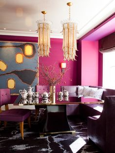 Invigorating bright pink walls, purple upholstered chairs and colorful contemporary art enliven this eclectic dining room. And what about those two stunning chandeliers? Image: Digs Digs room design pink How to Decorate with Bold, Bright Beautiful Color Decor, Dining Room Design, Purple Rooms, House Design, Eclectic Dining Room, Dining Room Decor, Home Decor, House Interior, Pink Interior
