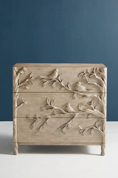 Orinthology Three-Drawer Dresser by Anthropologie in Beige Size: All, Dressers chic furniture ideas chic furniture living room chic furniture diy chic furniture for sale Hanging Furniture, Paint Furniture, Furniture Makeover, Home Furniture, Furniture Design, Furniture Ideas, Geek Furniture, Furniture Storage, Wallpaper Furniture