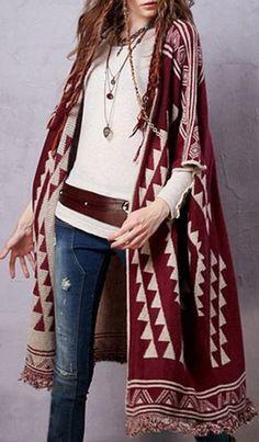 Love Bohemian Style Cardigans! Wine Red Geometric Design Half Sleeve Jacquard Longline Cardigan