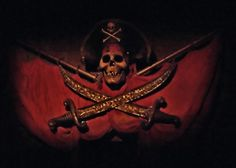 The talking skull with crossed swords.-Disney's Pirates of the Caribbean