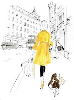 LONDON : Regent Street Shopping : Elle Deco illustration by YOCO http://www.dutchuncle.co.uk/yoco-fashion-illustrations