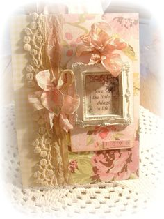 Shabby chic card with picture frame