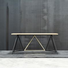 Tuckbox Design: TRUSS bench table brass and black