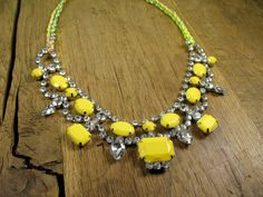 Romantic Neon Crystal Yellow Tear Drop Bib with Braided Rainbow/Chain/Neon Necklace (125.00)