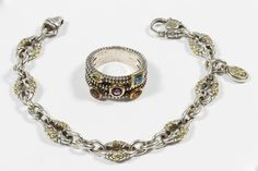 """Lot 233: Scott Kay Sterling Silver and 18k Gold Bracelet; Having the """"SK"""" initial mark on the clasp; together with a sterling silver and 14k gold ring; ring has stamped 14k gold and sterling silver mark"""