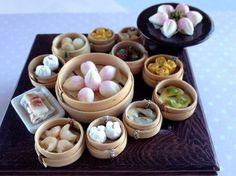 Dollhouse Miniature Food 1/12 Scale Yum Cha BBQ Pork Bun in Steam Basket