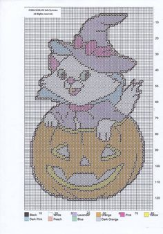 KITTY IN A PUMPKIN WALL HANGING by SORAM INFO SYSTEMS Plastic Canvas Coasters, Plastic Canvas Ornaments, Plastic Canvas Christmas, Plastic Canvas Crafts, Plastic Canvas Patterns, Halloween Canvas, Halloween Crafts, Halloween Ideas, Happy Halloween