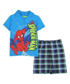 Loving this Blue 'Ultimate Spider-Man' Polo & Plaid Shorts - Toddler & Boys on #zulily! #zulilyfinds