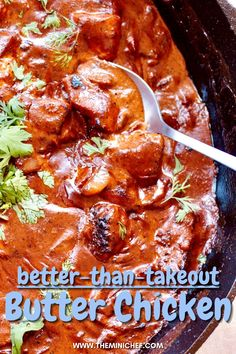 Typically, Indian recipes call for a ton of different ingredients, but this recipe uses only the essentials for creating an amazing butter chicken. It may be hard to believe, but the amount of flavor and complexity in this butter chicken will make you never want to order takeout again! The sauce is rich and sweet, and the chicken is tender and juicy. #chickenfoodrecipes #chicken #indianrecipes #takeout #dinnerideas #easyrecipe