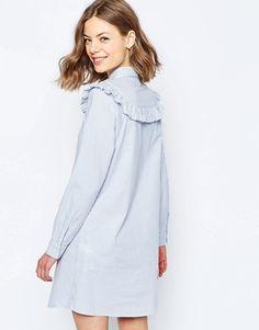 Изображение 2 из Платье-рубашка в полоску с рюшами ASOS