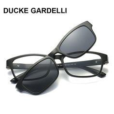 33f6561047 DUCKE GARDELLI Men Optical Frame myopia eyeglasses with polarized magnetic  clip women oculos magnet Removable sunglasses 738