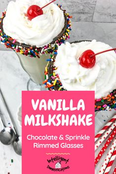 Easy recipe for a simple homemade Vanilla Milkshake sweet treat. How to coat the rim of the milkshake glass with chocolate dipped candy sprinkles. #milkshake #sweets #easysummerdessert Candy Sprinkles, Chocolate Sprinkles, Chocolate Filling, Chocolate Cherry, Mini Chocolate Chips, Chocolate Dipped, Melting Chocolate, Homemade Vanilla, Homemade Desserts