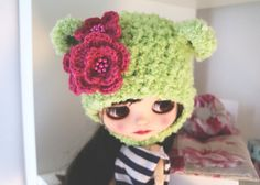 Blythe bear hat. Ear hat for newborn prop. ooak by KissOfMoth