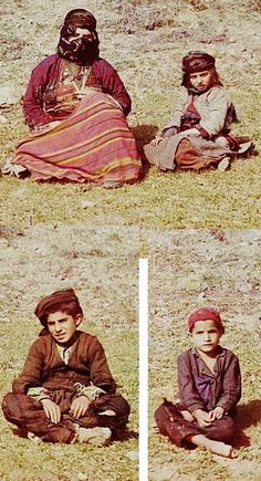 Kurdish mother and her three children in daily costumes.  Artvin, 1911 (coloured photograph).