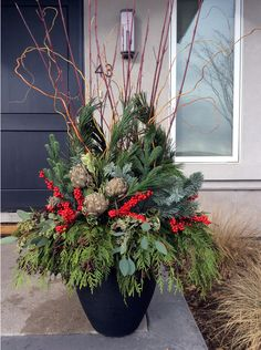 Festive Containers in Colorado Ring in the Season! Outdoor Christmas Planters, Christmas Porch, Outdoor Christmas Decorations, Christmas Holidays, Christmas Wreaths, Christmas Crafts, Christmas Ornaments, Christmas Ideas, Outdoor Planters