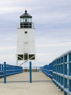 Charlevoix Lighthouse on Lake Michigan, Michigan, USA
