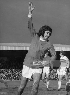 Manchester United player George Best celebrating after scoring the first goal in the fifth round of the F A Cup against Northampton.