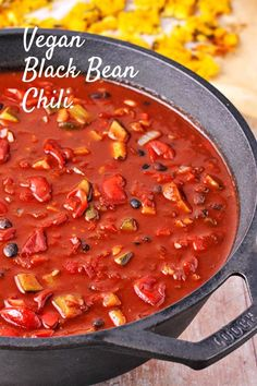 There's always room for a new chili recipe and easy black bean chili with cocoa (cacao) powder with its deep, flavorful combination of savory, spicy and of course chocolate has officially placed this recipe to our list. Top this off with jalapeno polenta squares and quick slaw and it's chili extravagance! #anothermusicinadifferentkitchen #veganchili #plantbased Black Bean Chili, No Bean Chili, Black Beans, Chili Recipes, Vegan Recipes, Mole Sauce, Small Baking Dish, Vegan Chili, Tomato Vegetable