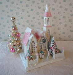 Christmas House Cottage w Bottle Brush Trees  Pink by IllusiveSwan, $42.00