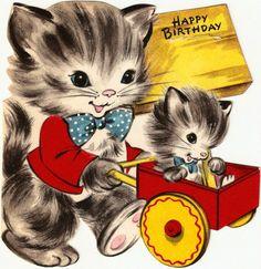 Vintage Birthday Card, Cat & Kitten