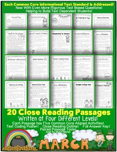 March Close Reading w/ 5 activities per passage.  Covers every CCSS Informational Text standard. Titles are:  All About March Read Across Time Music In Our Schools Women's History Month March and the Color Green Irish American Leaders National Peanut Month Shamrocks and Clovers St. Patrick's Day The Irish Fairy The Tricky Leprechaun Spring  Spring Cleaning Telephones and a Birthday Albert Einstein Daylight Saving Time Rainbows Ireland Irish Immigrants Yellowstone RI.1.2.3.4.5.6.7.8.9.10